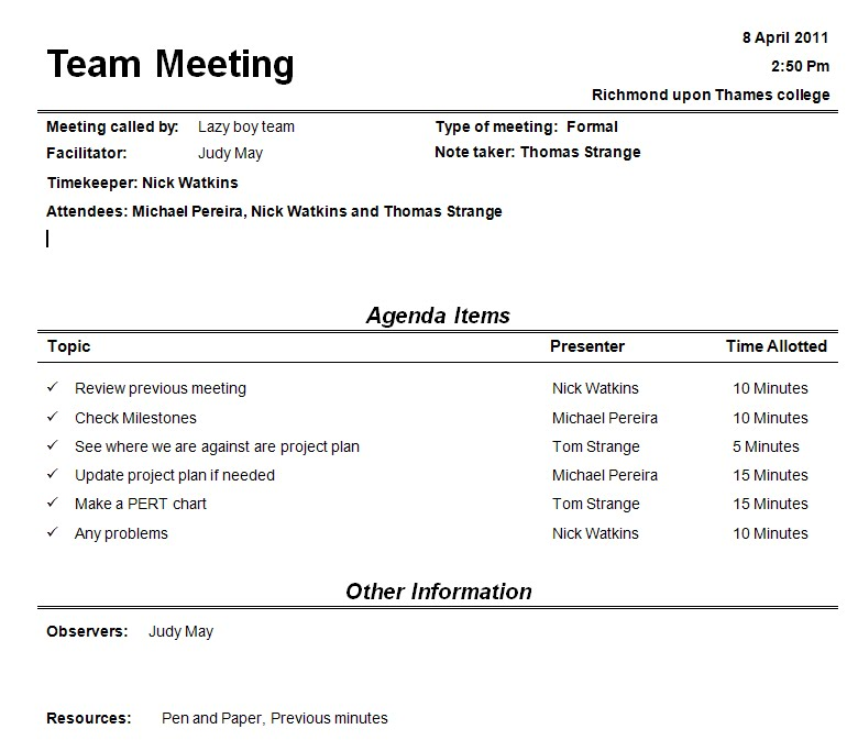 team meeting agendas