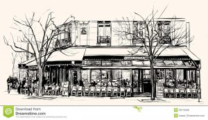tech business cards old cafe paris vector illustration
