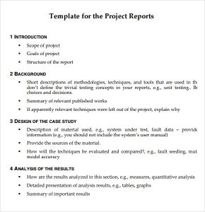 technical report formats project report template pdf