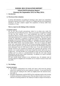 technical reports format handout sse case study school selfevaluation report literacy