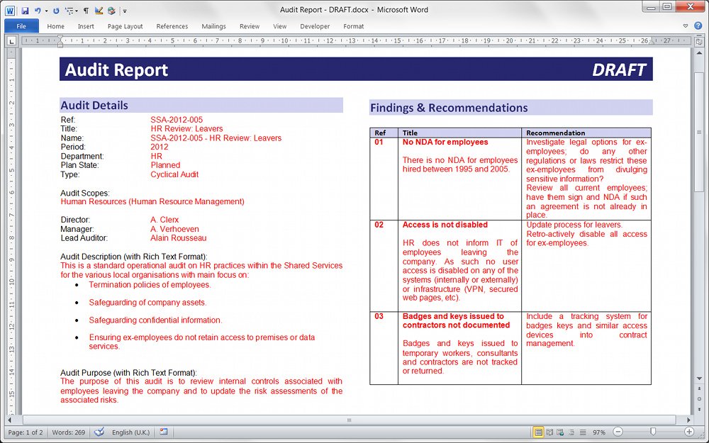 technical reports format