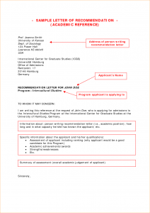 template for business letter academic reference sample