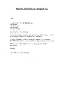 template for business letter agree to sponsor cause sample letter