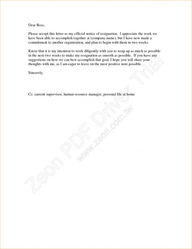 template for resignation letter