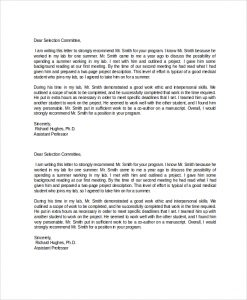 template letter of recommendation academic recommendation letter