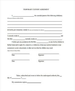 temporary custody agreement temporary custody agreement form
