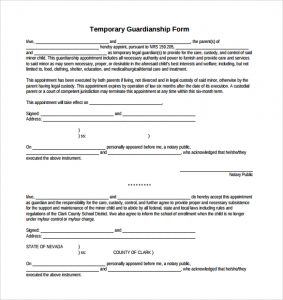 temporary custody agreement temporary guardianship form sample download