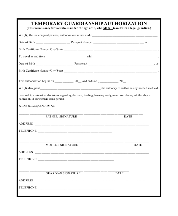 temporary guardianship agreement form