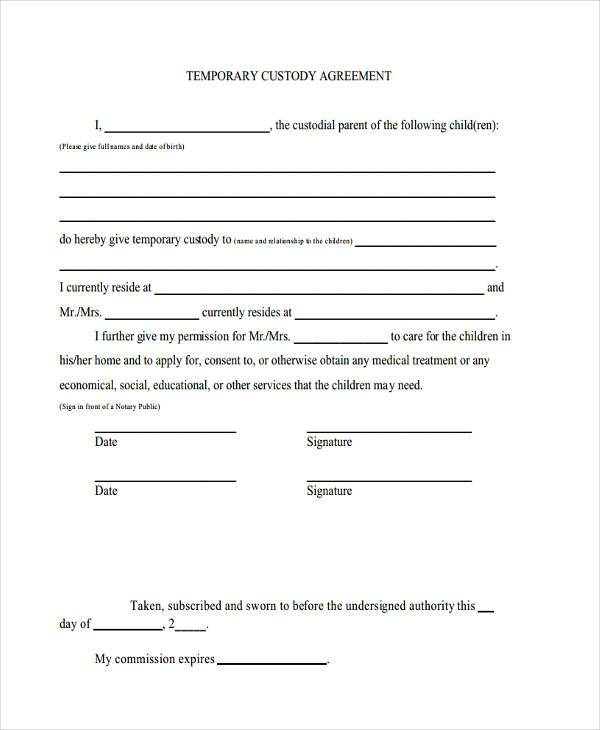Temporary Guardianship Agreement Form  Template Business