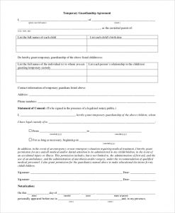 temporary guardianship agreement form temporary guardianship agreement form