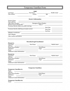 temporary guardianship agreement form temporary guardianship form
