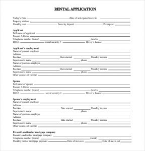 tenant application form standard rental application form free download