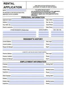 tenant application form wisconsin rental application x
