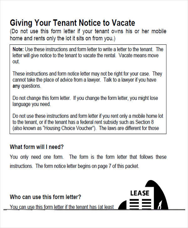 tenant notice to vacate