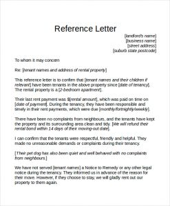 tenant reference letter tenant reference letter template