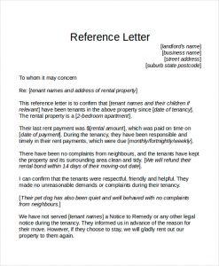 tenant reference letter tenant reference letter template