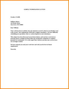 termination letter sample employee release letter sample employee termination letter