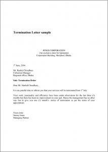 termination letter sample termination letter