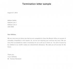 termination letter sample termination letter sample e