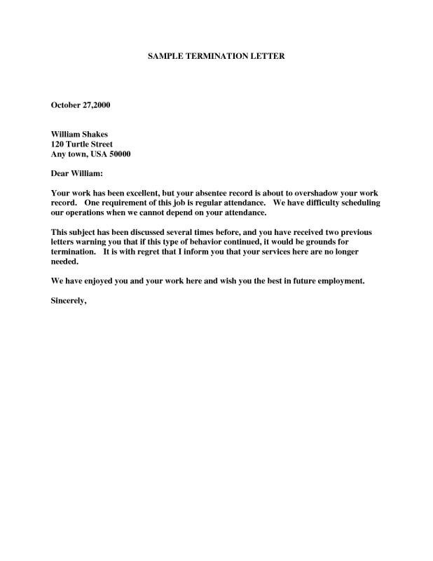 Termination Letter Template  Example Of Termination Letter To Employee
