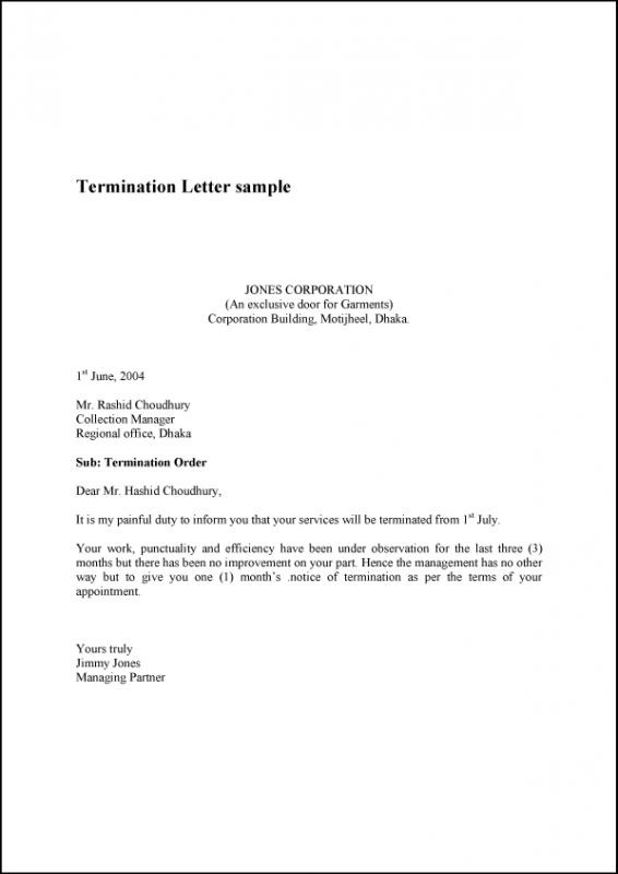 Lovely Termination Letter Template Regarding Generic Termination Letter