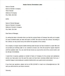 termination letter template termination of services letter to vendor word doc