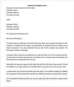 termination letter to employee formal employee termination letter template download for free