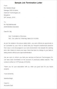termination letter to employee sample job termination letter