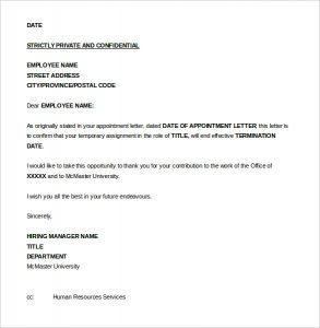 termination letter to employee seasonal job termination letter to employee word format