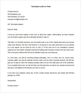 termination of employment letter employee termination letter for theft word doc