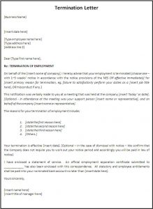 termination of employment letter termination letter template