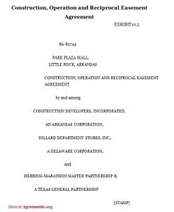 termination of lease letter construction operation and reciprocal easement agreement