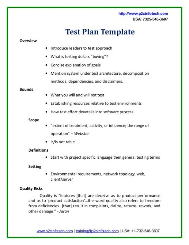 Test plan example template business for Testplan template