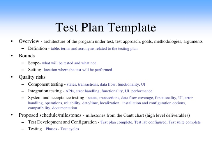 Test Plan Example  Template Business