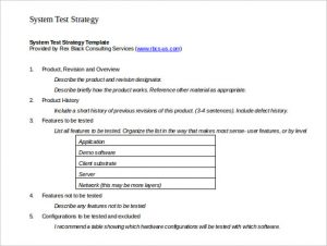 test strategy template system test strategy template