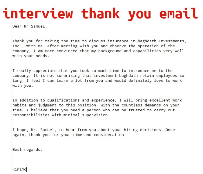 thank you email for interview