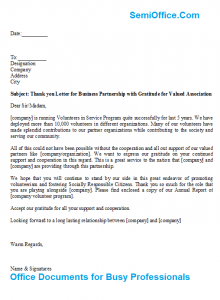 thank you for your support letter thank you letter for business partnership with gratitude for valued association x