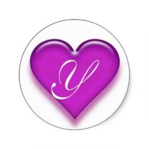 thank you letter business letter y monogrammed juicy heart sticker purple