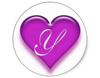 thank you letter business letter y monogrammed juicy heart sticker purple