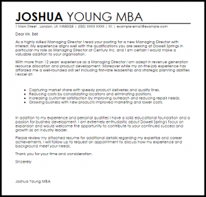 thank you letter business managing director