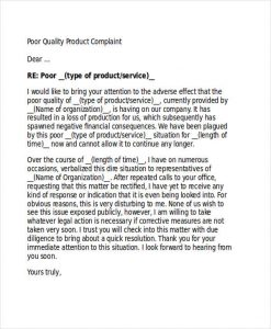 thank you letter business product quality complaint letter