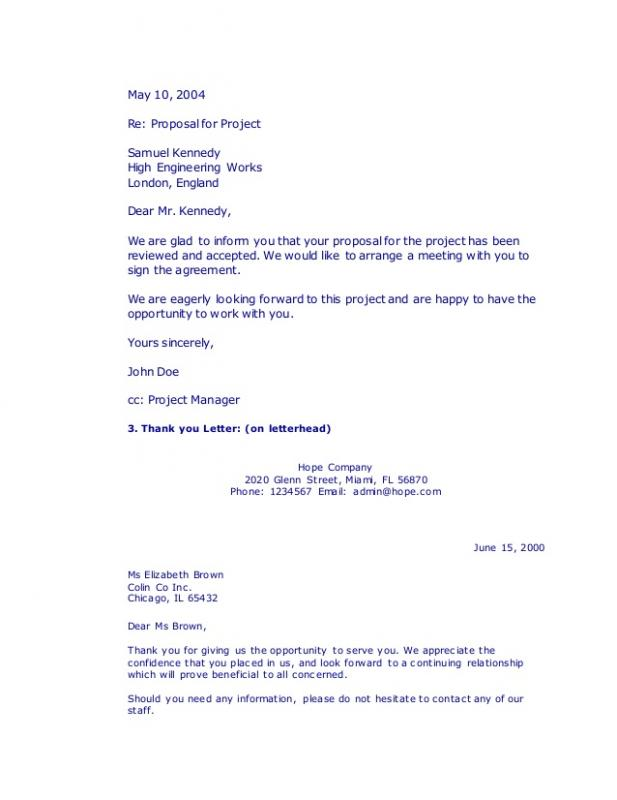 Thank You Letter Business  Business Thank You Letter