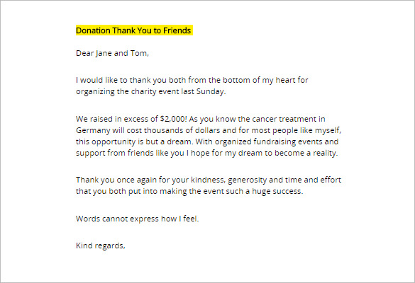 Thank You Letter For Donation  Template Business