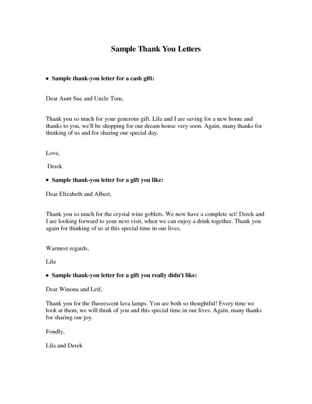 Thank You Letter For Gift  Template Business