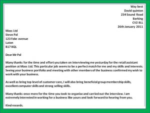 thank you letter for job interview job interview follow up letter
