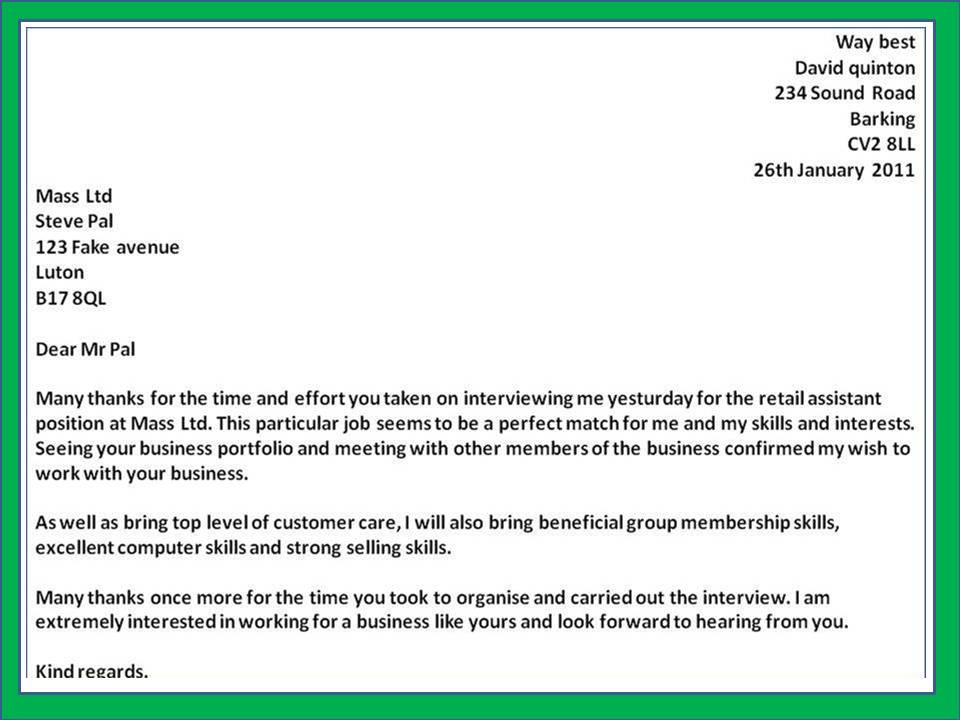 Thank You Letter For Job Interview Template Business