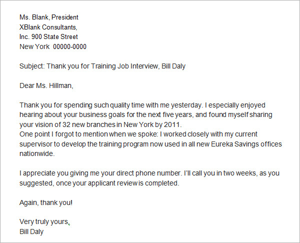 thank you letter for job interview