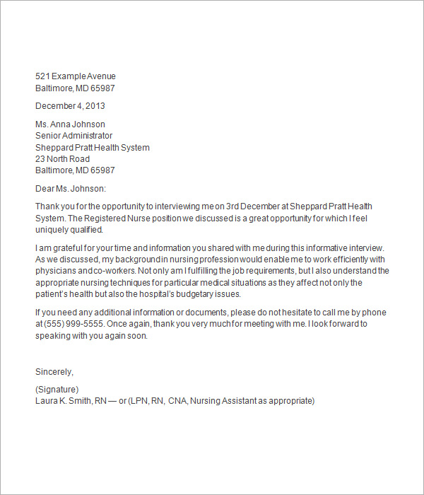 example interview thank you letter
