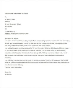 thank you letter for job offer teaching job offer thank you letter template