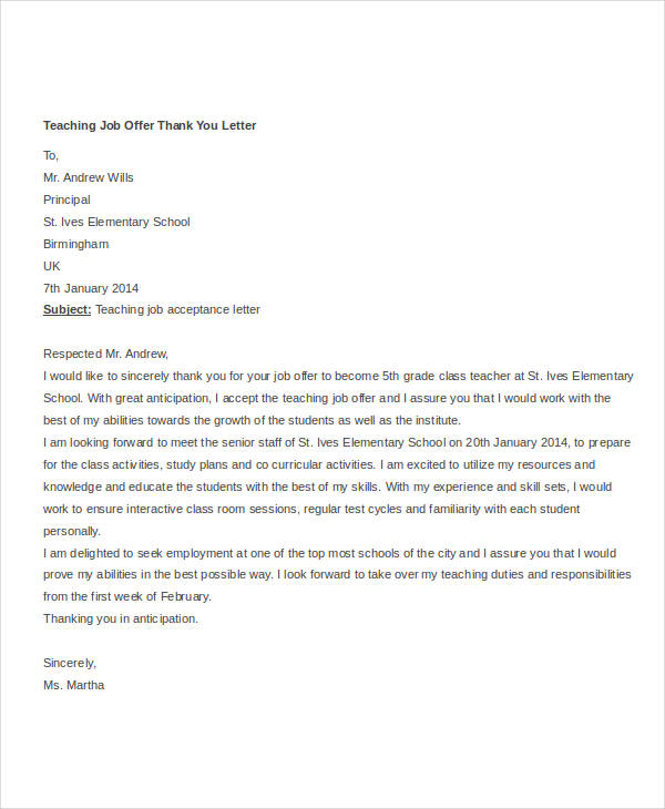 thank you letter for job offer
